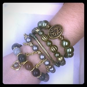 Jewelry - Olive green and gold bracelets.